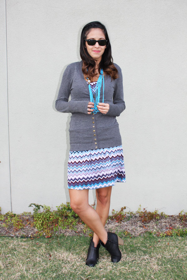 chevron-dress-gray-sweater-booties