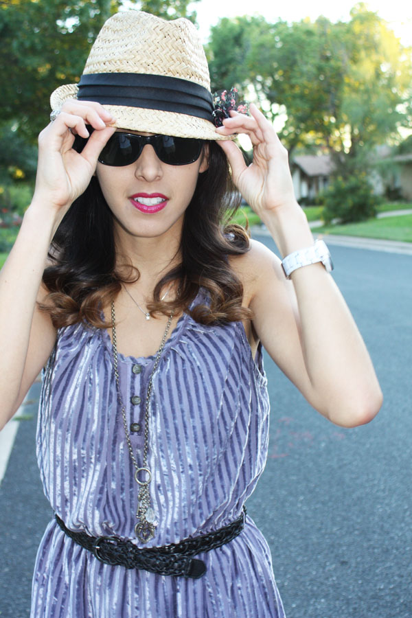 fedora-closeup-purple-velvet-dress-pink-lipstick