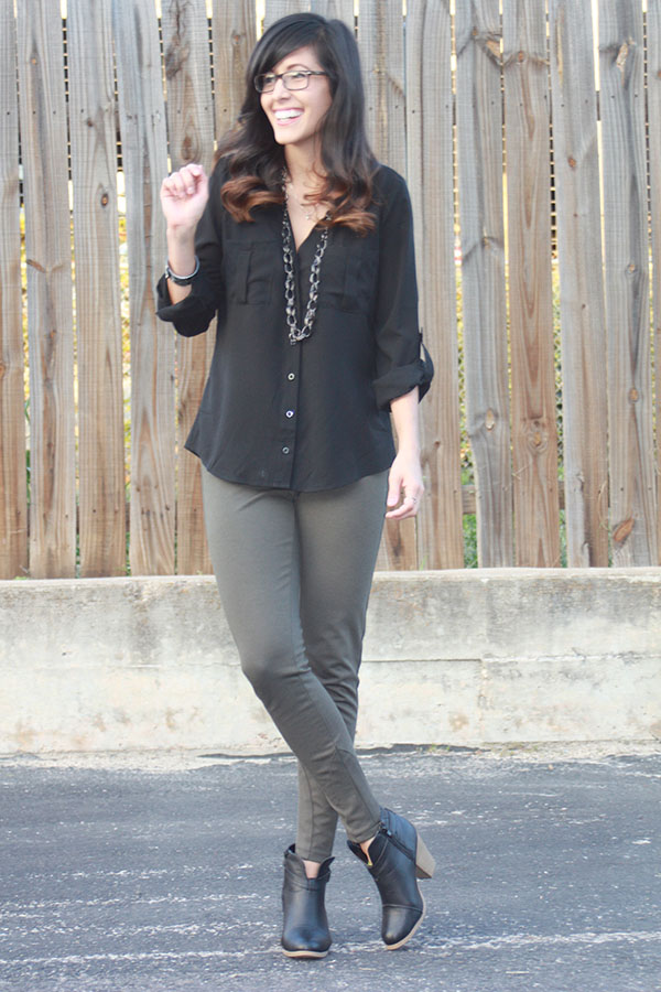black-buttonup-olivepants-rayban-booties