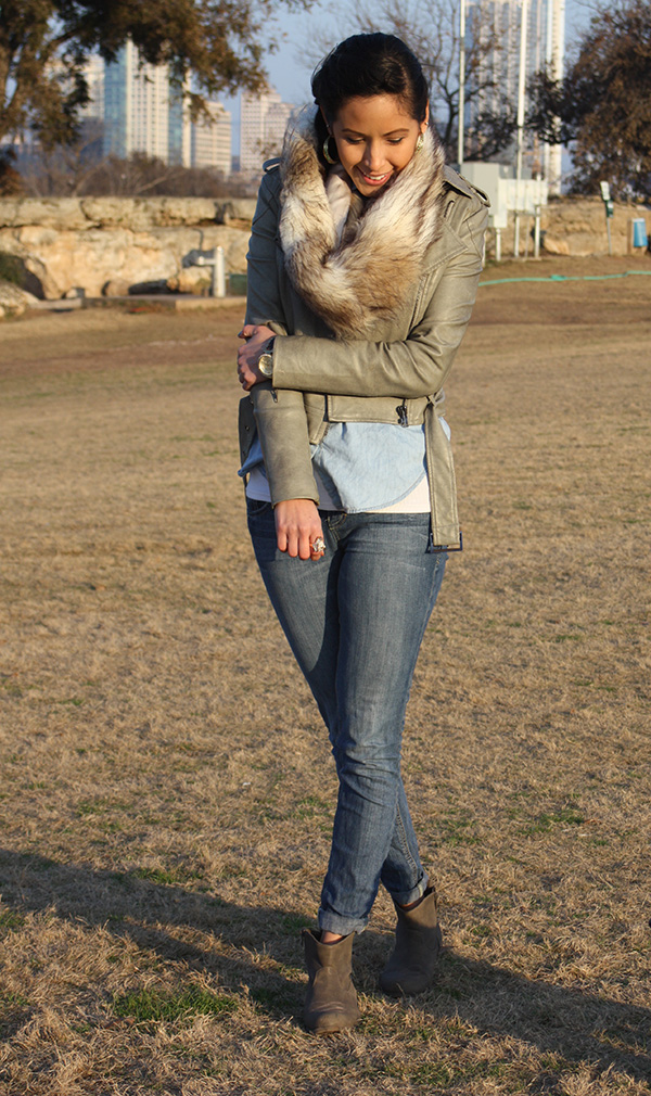 fur-scarf-blue-jeans-booties-green-leather-jacket