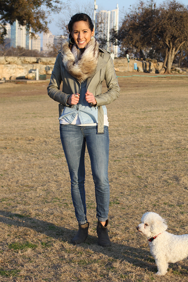 green-leather-jeans-booties-fur-scarf