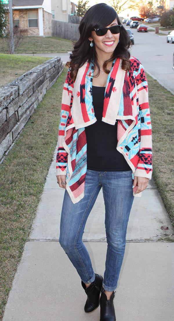 tribal-print-sweater-jeans-black-booties-rayban
