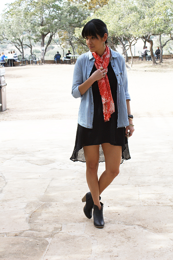 black-high-low-dress-booties-scarf