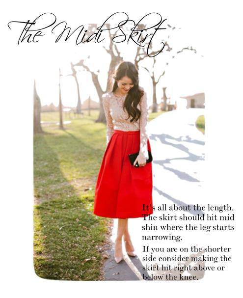 friday-fashion-tip-red-midi-skirt-lace-top-clutch