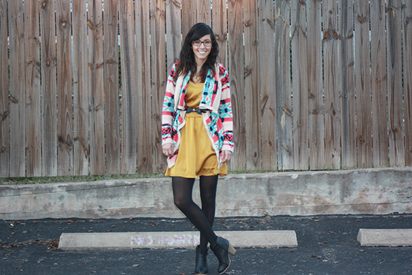 tribal-print-sweater-mustard-dress-black-booties