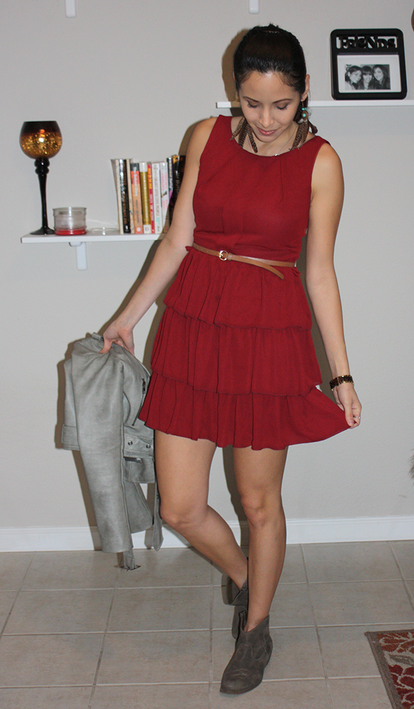 Vday-outfit-red-dress-booties-leather-jacket